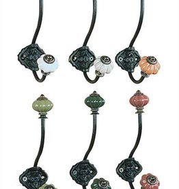 Creative Co-op Cast Iron Ceramic Knob Wall Hook