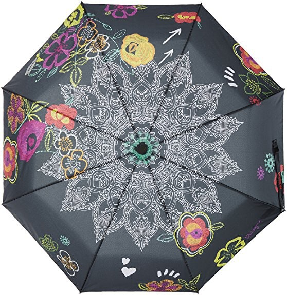 Desigual Umbrella WOW, Floral Print on Black