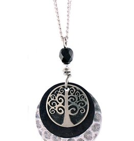 Earth Dreams Earth Dreams Silver Tree Necklace - Black