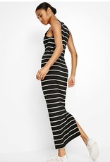 Desigual Long Black and White Stripe Dress w/ Embroidered Flowers
