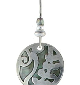 Earth Dreams Round Nature Pattern Earrings, Green Stone