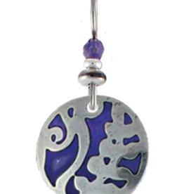 Earth Dreams Round Nature Pattern Earrings, Purple Stone