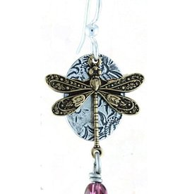 Earth Dreams Earth Dreams Dragonfly Crystal Earrings - Purple