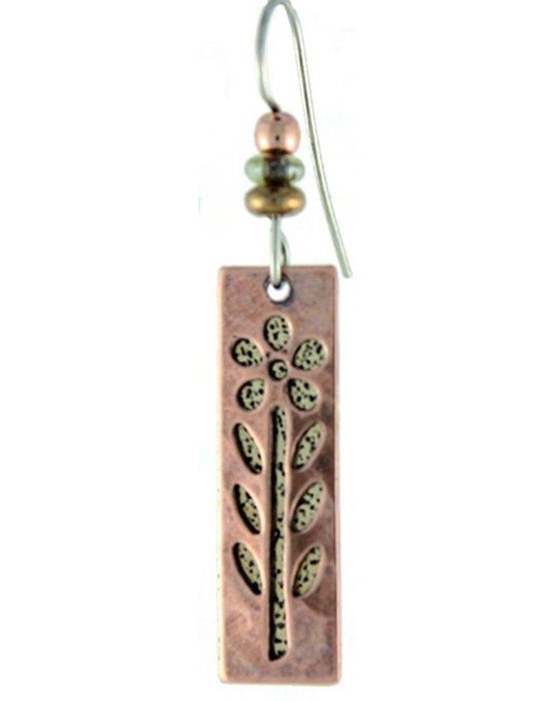 Earth Dreams Earth Dreams Copper & Brass Long Flower Earrings