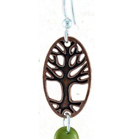 Earth Dreams Copper Tree Earrings w/ Green Back, Glass Beads