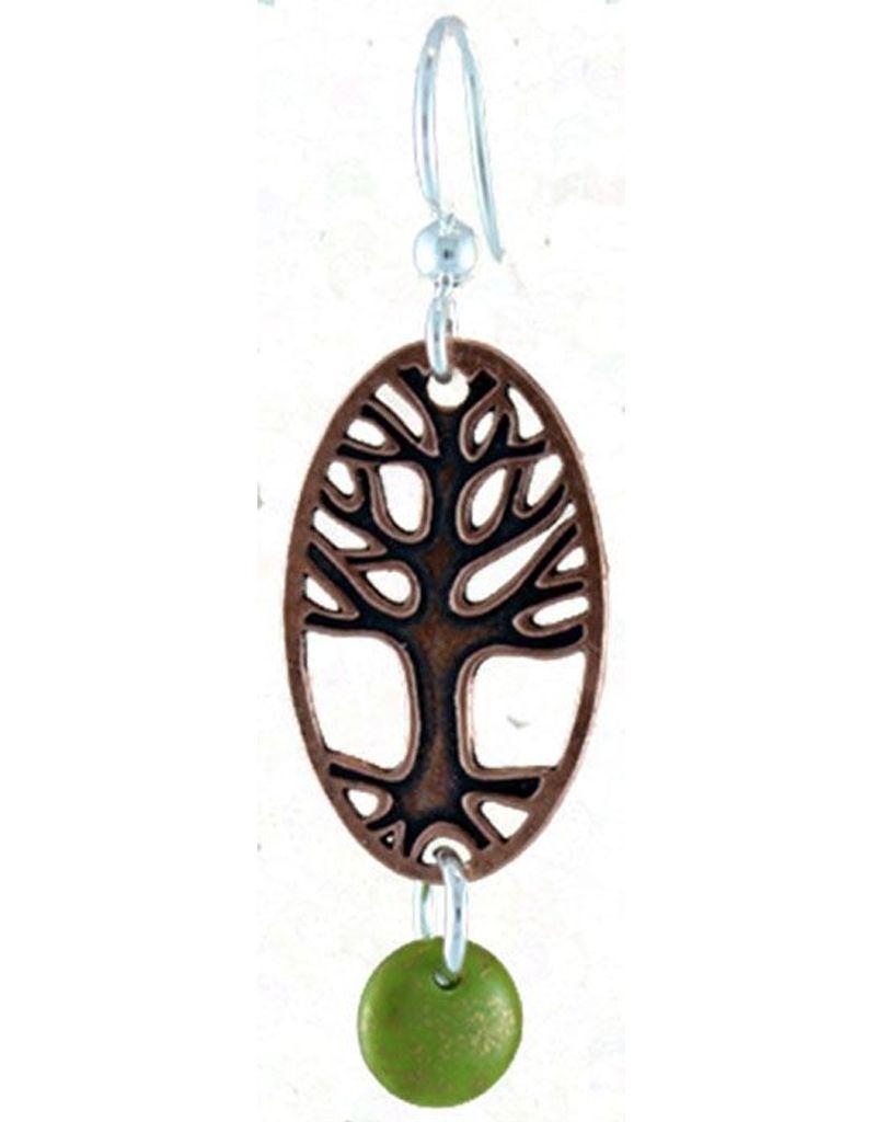 Earth Dreams Copper Tree Earrings w/ Green Back, Glass Beads
