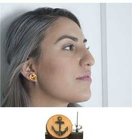 Unpossible Cuts Round Wooden Anchor Earrings