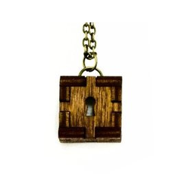 Unpossible Cuts Wooden Cube Keyhole Necklace