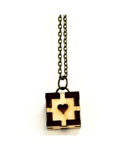 Unpossible Cuts Cubic Fun Heart Necklace, Natural/Chestnut
