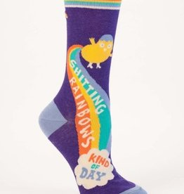 Blue Q Shitting Rainbows Crew Socks