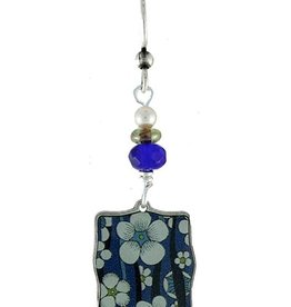 Earth Dreams Blue and White Flower Square Earrings