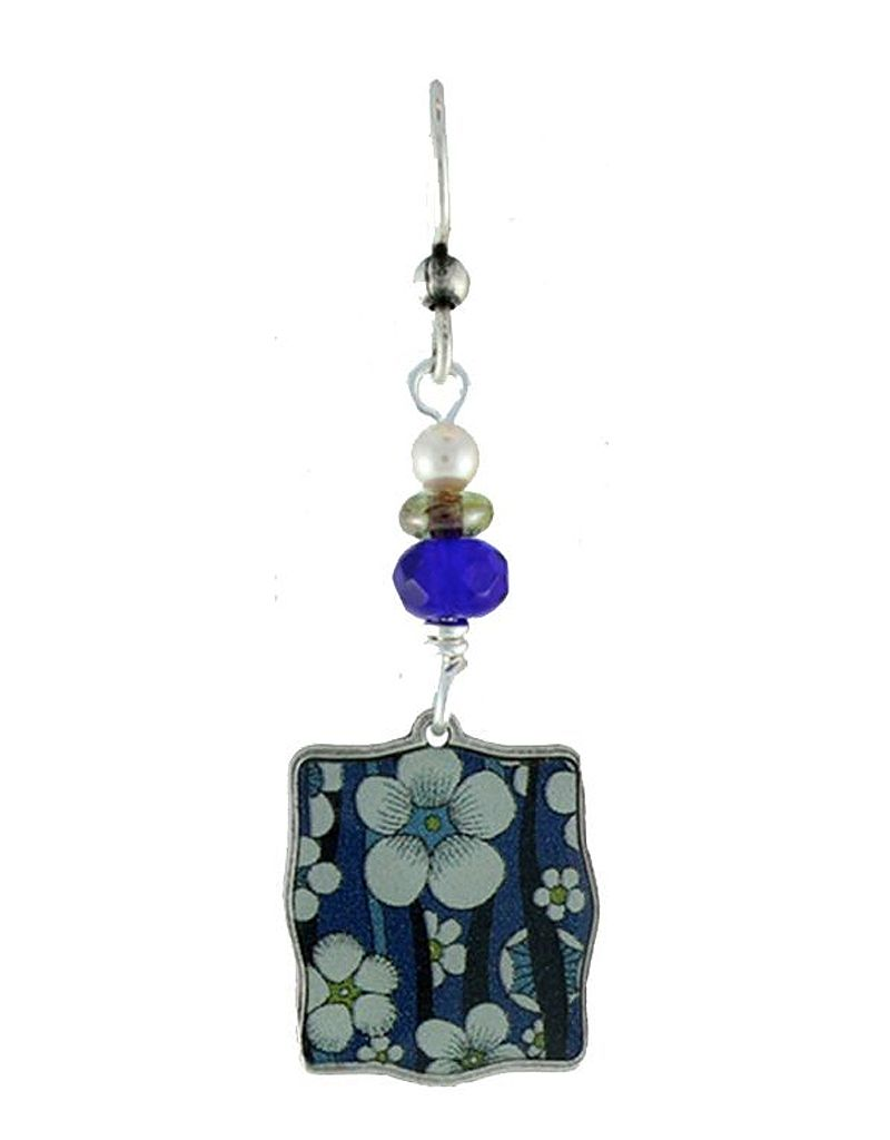 Earth Dreams Blue and White Flower Square Earrings, Blue Bead