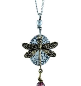 Earth Dreams Earth Dreams Brass Dragonfly Necklace, Purple Stone