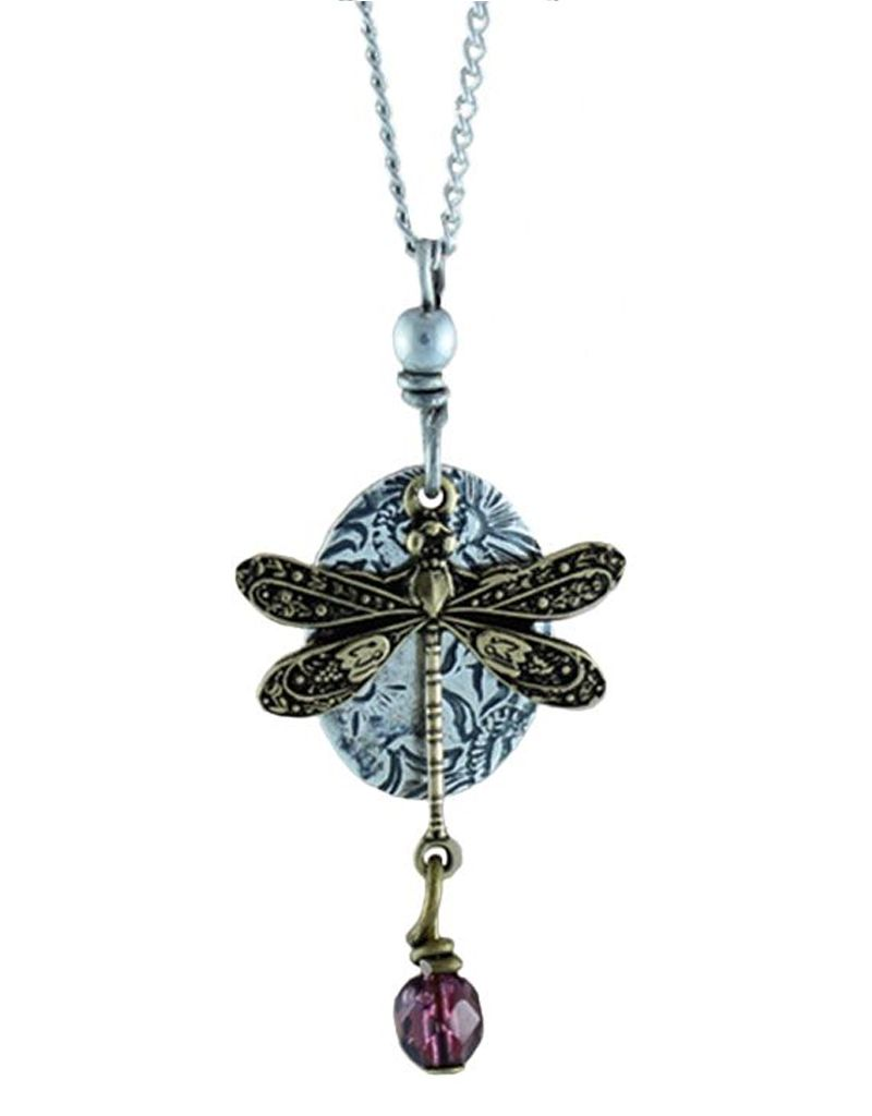 Earth Dreams Brass Dragonfly Necklace, Purple Stone