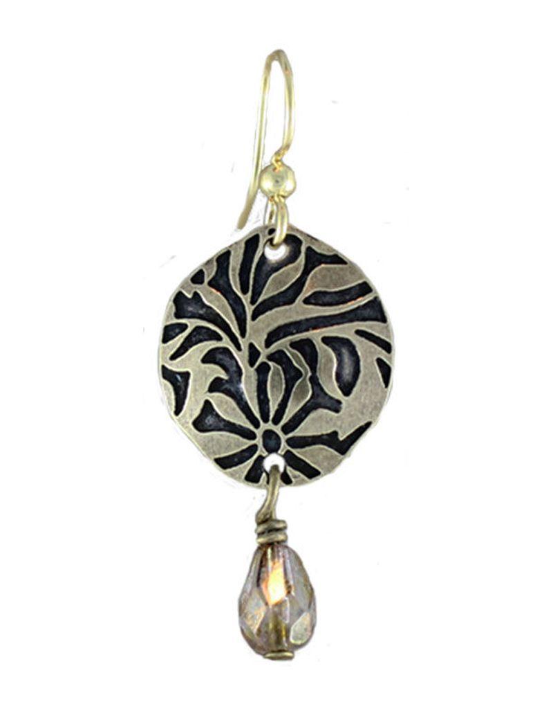 Earth Dreams Brass Flower Burst Earrings, Brown Stone