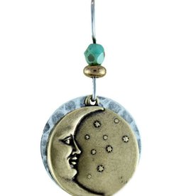Earth Dreams Brass Moon Earrings on Hammered Silver Backing