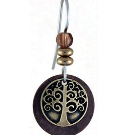 Earth Dreams Earth Dreams Brass Tree of Life Earrings, Brown Stone