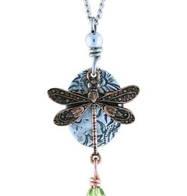 Earth Dreams Earth Dreams Copper Dragonfly Necklace, Green Stone