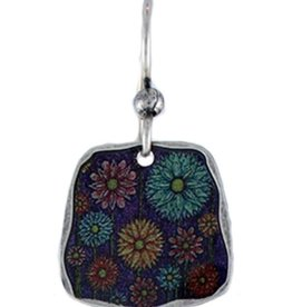 Earth Dreams Dandelion Whisp Earrings w/ Purple Bead