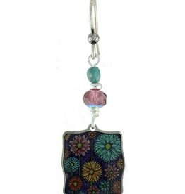 Earth Dreams Dandelion Whisp Square Earrings, Purple Bead