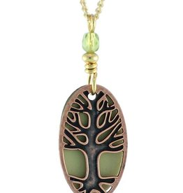 Earth Dreams Earth Dreams Oval Tree of Life Necklace, Copper and Green