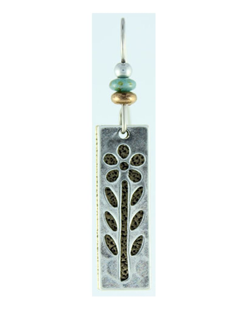 Earth Dreams Earth Dreams Silver and Brass Long Flower Earrings