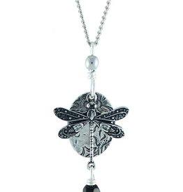 Earth Dreams Earth Dreams Silver Dragonfly Necklace, Black Stone