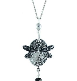 Earth Dreams Silver Dragonfly Necklace, Black Stone
