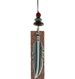 Earth Dreams Silver Feather Earrings, Brown Bead and Copper Backing