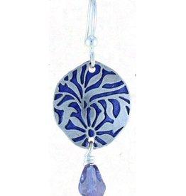Earth Dreams Silver Flower Burst Earrings, Purple Stone