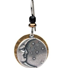 Earth Dreams Silver Moon Earrings on Hammered Brass Backing
