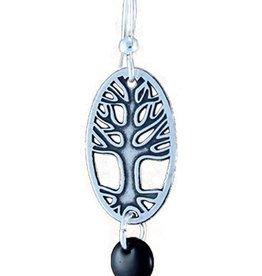 Earth Dreams Silver Oval Tree Earrings, Black Bead