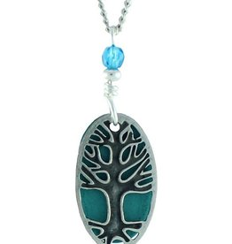 Earth Dreams Silver Oval Tree Necklace, Blue Back and Stone