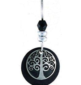 Earth Dreams Silver Tree of Life Earrings, Black Stone
