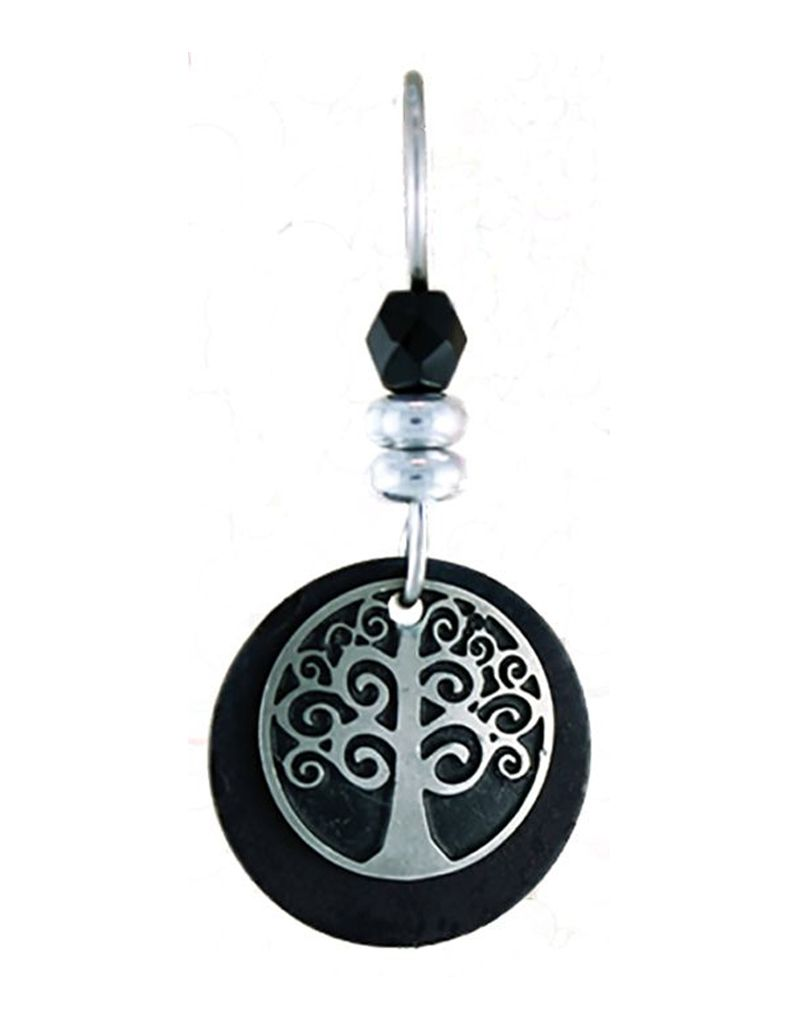 Earth Dreams Earth Dreams Silver Tree of Life Earrings, Black Stone