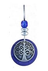 Earth Dreams Silver Tree of Life Earrings, Blue Stone