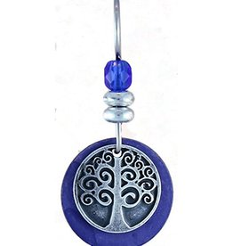 Earth Dreams Silver Tree of Life Earrings, Blue Stone