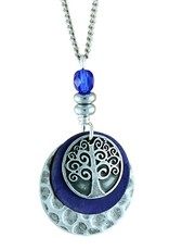 Earth Dreams Silver Tree of Life Necklace, Blue Bead
