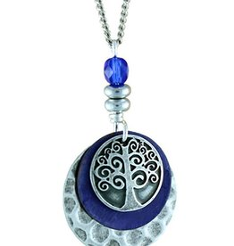 Earth Dreams Earth Dreams Silver Tree of Life Necklace, Blue Bead