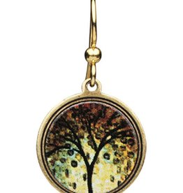 Earth Dreams Small Golden Tree Earrings