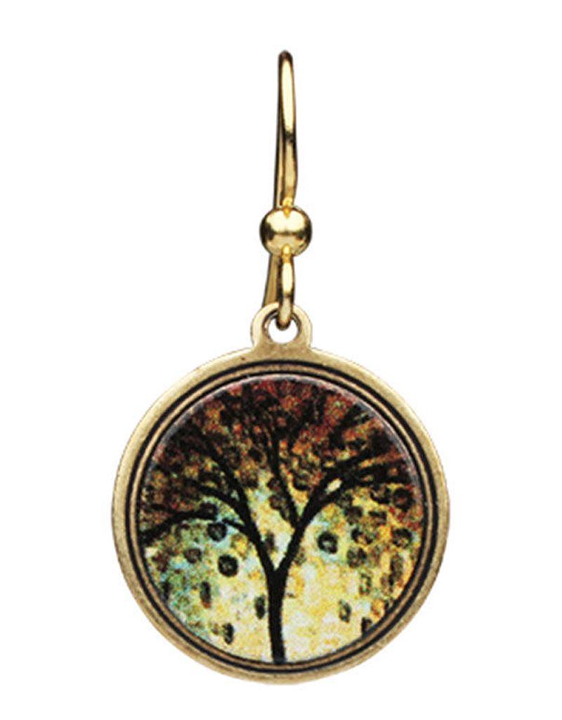 Earth Dreams Small Golden Tree Earrings