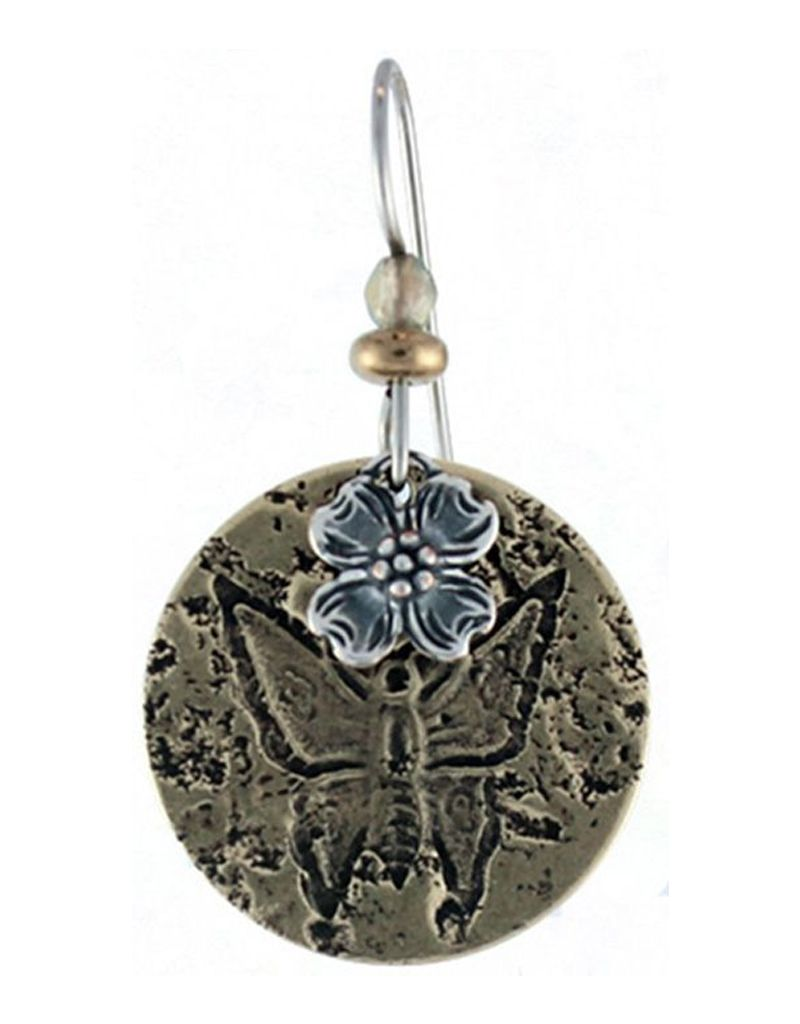 Earth Dreams Stamped Butterfly on Brass, Dogwood and Brown Stone