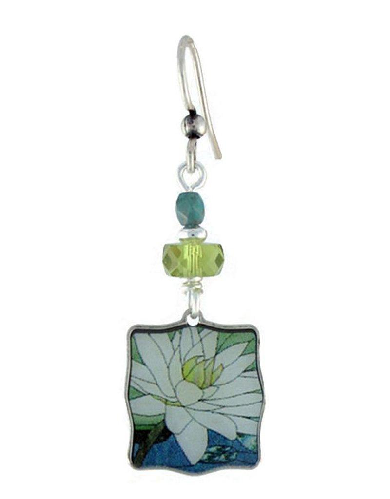 Earth Dreams Earth Dreams White Lotus Square Earrings, Green & Blue Beads