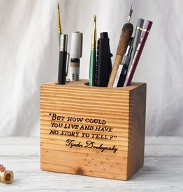 Peg and Awl Peg & Awl Wood Desk Caddy with Quote