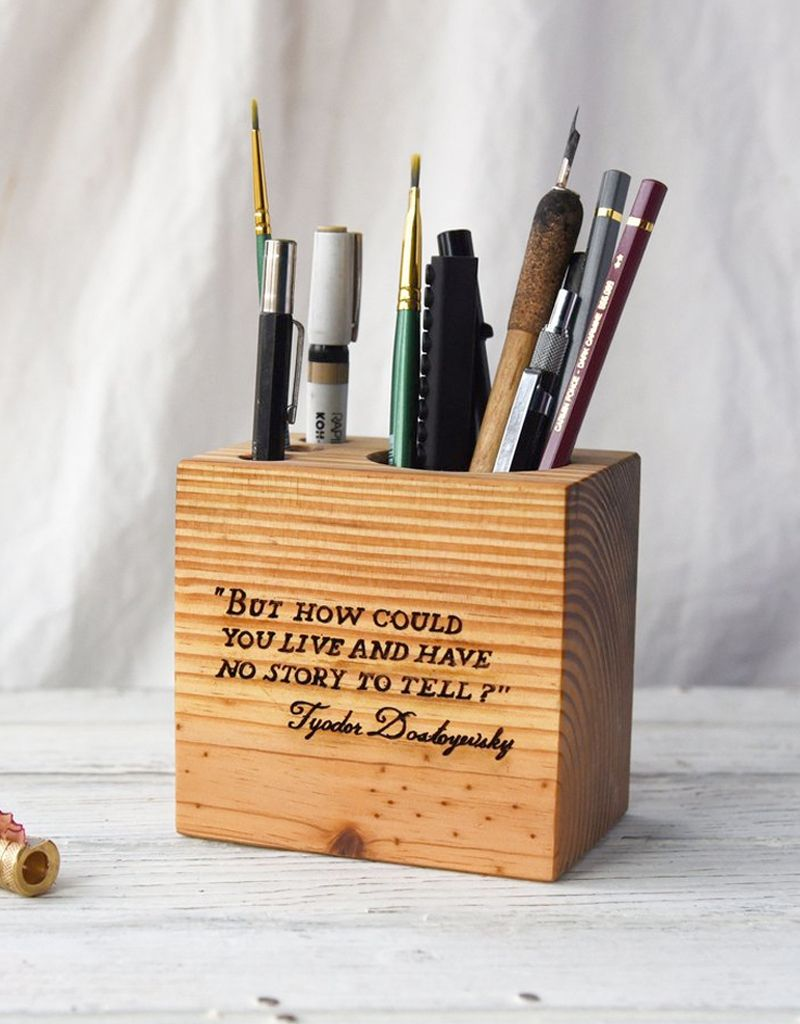 Peg and Awl Wood Desk Caddy with Quote