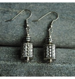 Nusantara White Metail Bohemian Stamped Earrings