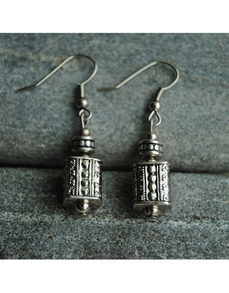 Nusantara white metal square small earrings