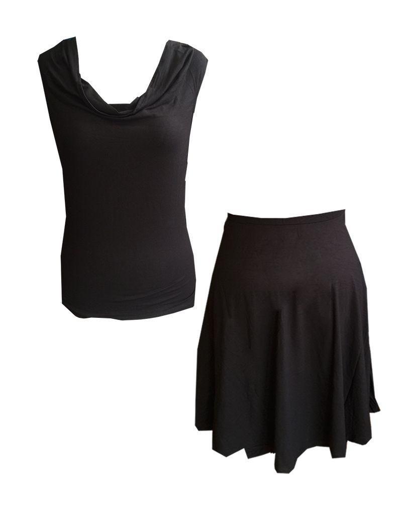 Dunia Sarah Skirt, Black Flare