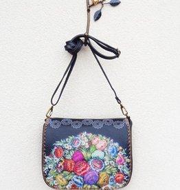 Lavishy International Bori Faux Leather Crossbody Bag - Russian Flower Print