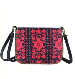 Lavishy International Bori Faux Leather Crossbody Bag - Ukraine Poppy Print